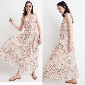 Madewell Inkspot Pink Ruffle Strap Wrap Dress